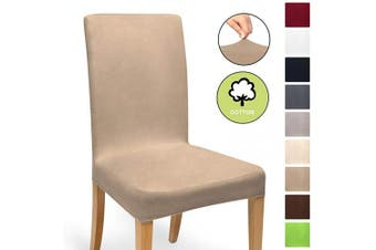 (Nougat, Chair Cover) - Beautissu Stretch Cover Mia Cotton Dining Chair Slipcover 35-50 cm Bi-Elastic Fitted Cover Chair Protection - Nougat