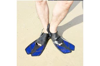 (S/M, Blue) - CAPAS Snorkel Fins, Swim Fins Travel Size Short Adjustable for Snorkelling Diving Adult Men Womens Kids Scuba Open Heel Swimming Flippers
