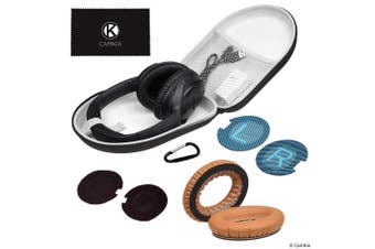 (Case + Earpads (Brown)) - CamKix Compatible Ear Pads Replacement and Protective Storage Case for Bose QuietComfort/SoundTrue / SoundLink Around-Ear Headphones - Models: QC35 II, QC35, QC25, QC15, QC2, AE2, AE2I, AE2W