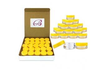 (Yellow Lid) - 50 Jars Beauticom 3 Grammes / 3 ml small Plastic Jar - Premium Quality Round Clear containers with Lid for Cosmetic Lotion Cream Makeup Beads eye shadow Pot sample travel Containers (Yellow Lid)