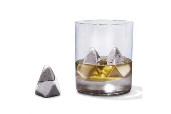 Polar Whiskey Chilling Drink Stones - Stainless Steel Iceberg-Shaped Scotch Cooling Ice Rocks With Metallic Finish - Drinking Accessories for Men, Includes Attractive Gift Box - 3 Per Pack