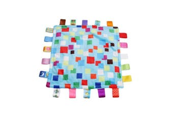 Baby Boy Tag Security Blanket - Colourful Plush Security Comforter Taggies Blankets, Warm and Safe Security Blanket Toy Best Shower Gift for Baby