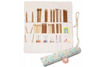 (Sweet Floral) - Knitting Needles Holder Case Rolling Organiser for Crochet Hooks Accessories (Sweet Floral)