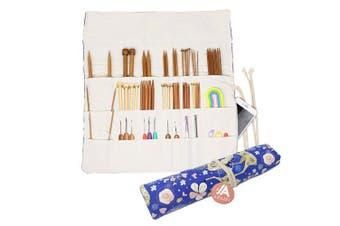 (Blue Deer) - Knitting Needles Holder Case Rolling Organiser for Crochet Hooks Accessories (Blue Deer)
