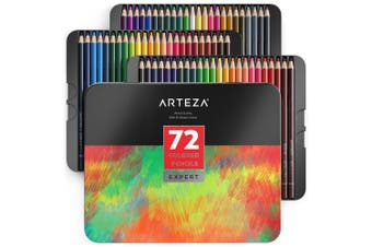 (Colored Pencils 72) - ARTEZA Professional Coloured Pencils, Set of 72 Colours, Soft Wax-Based Cores, Ideal for Drawing Art, Sketching, Shading & Colouring, Vibrant Artist Pencils for Beginners & Pro Artists in Tin Box