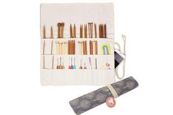 (Gray Tree) - Knitting Needles Holder Case Rolling Organiser for Crochet Hooks Accessories (Grey Tree)