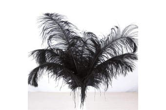 (50pcs, Black) - AWAYTR Natural 18-20 inch(45-50cm) Ostrich Feathers Plume for Wedding Centrepieces Home Decoration Black 50Pcs