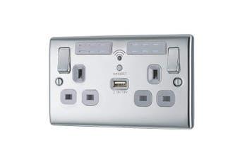 (polished chrome) - bg electrical npc22uwrw Polished Chrome 2.1 A USB Charger and Wi-Fi Range Extender Electrical Socket