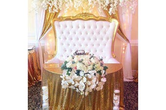 (270cm round, Gold) - B-COOL Gold Sequin Tablecloths 270cm Round Shimmer Table Cloth for Round Table Tablecloth for Bridal Shower Wedding Decorations