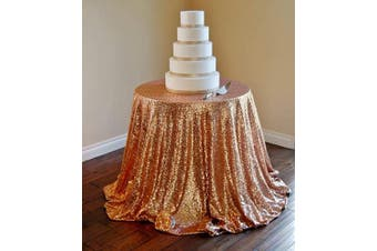 (Rose Gold Tablecloth-108r) - B-COOL Rose Gold Tablecloth 108 Round Table Cover Glitter Table Cloth Sequin Table Overlay