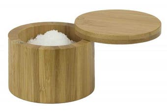 (1 Tier) - Home Basics Bamboo Swivel Salt Box with Magnetic Lid, Natural Honey (1 Tier)