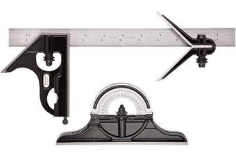 Starrett 434-12-16R Forged, Hardened Square, Centre And Reversible Protractor Heads With Blade Combination Set, Smooth Black Enamel Finish, 16R Graduation, 30cm Size