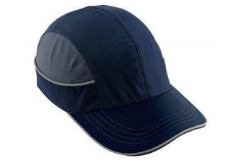 (Long Brim, Standard, Navy) - Ergodyne Skullerz 8950 Safety Bump Cap with Long Brim, Navy