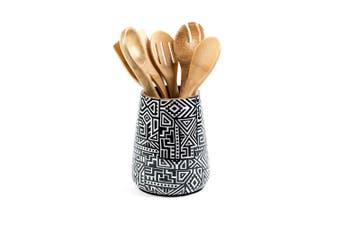(Black Tribal) - Tribal Utensil Holder for Kitchen, Mango Wood, Black