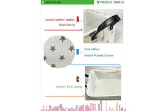 (Star) - Rectangular Storage Basket Collapse Canvas Fabric Nursery Hamper with Handles for Organising Home/Kitchen/Kids Toy/Office/Closet/Shelf Baskets(Star)