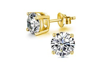 (6mm Yellow Gold Plated) - AOBOCO 18K White Gold Plated Hypoallergenic CZ Studs Earrings 925 Sterling Silver with Cubic Zirconia from Stud Earrings Simulated Diamond Jewellery for Her