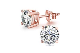 (6mm Rose Gold Plated) - AOBOCO 18K White Gold Plated Hypoallergenic CZ Studs Earrings 925 Sterling Silver with Cubic Zirconia from Stud Earrings Simulated Diamond Jewellery for Her