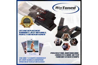 Rip Toned Lifting Wrist Straps (Pair) - Bonus Ebook - Cotton - Neoprene Padded - for Weightlifting, Bodybuilding, Xfit, Strength Training, Powerlifting, MMA