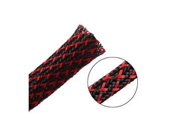 (1.9cm -7.6m, Blackred) - 7.6m - 1.9cm PET Expandable Braided Sleeving – BlackRed – Alex Tech Braided Cable Sleeve