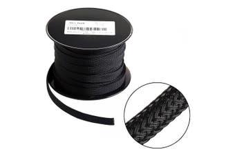 (2.5cm -30m, Black) - 30m - 2.5cm PET Expandable Braided Sleeving – Black – Alex Tech Braided Cable Sleeve