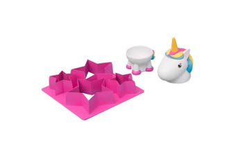 (Single) - Thumbs Up UNIEGG Unicorn Egg Cup & Toast Cutter Set, Pink