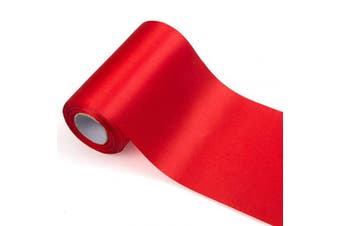 (01 Red (15cm/22m)) - ADVcer 15cm Wide Red Satin Ribbon Roll - 24.1 Yard Long Bulk for Christmas Holiday Decorative, Wedding Birthday Ceremonial, Gift Wrapping, Ribbons Cutting, Chair Sashes, Indoor or Outdoor Embellish