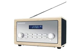 Daewoo Digital Bluetooth FM/DAB/DAB+ Portable Radio with 3.5mm AUX Input, Time & Date LCD Display, Alarm Clock and 10W Audio Output - Wood/Silver Finish