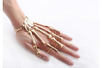 (Silver) - Deniferymakeup Exaggerate Metal Skeleton Bracelet Halloween Accessories Ghost Claw Ornaments Gothic Finger Skeleton Bracelet Flexible to Wear for Your Halloween Cosplay Costume (Silver)