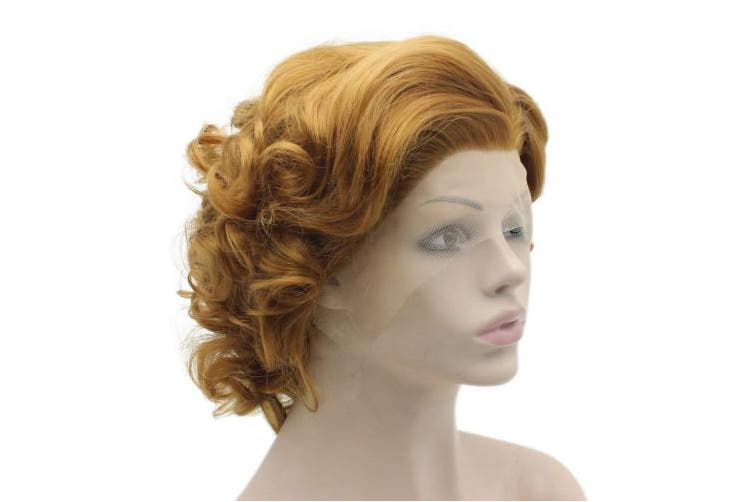 Mxangel Heat Friendly Synthetic Lace Front Natural Short Curly Gold Blonde Wig