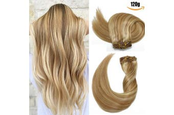 (50cm -120g, #27P613) - Clip in Hair Extensions 120 Grams120ml 100% Brazilian Remy Human Hair Extensions 9A Thickened Soft Silky Straight for Fashion Women 7pcs 17clips Full Head Mixed Bleach Blonde (50cm #27P613)