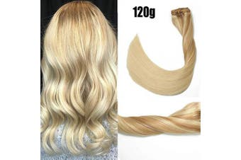 (46cm , #12T613P613/120g) - Clip in Hair Extensions 120 Grams120ml 100% Brazilian Remy Human Hair Extensions 9A Thickened Soft Silky Straight for Fashion Women 7pcs 17clips Full Head Honey Bleach Blonde (46cm #12T613P613)