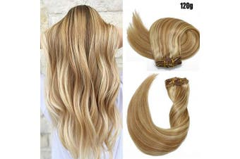 (36cm , #27P613/120g) - Clip in Hair Extensions 120 Grams120ml 100% Brazilian Remy Human Hair Extensions 9A Thickened Soft Silky Straight for Fashion Women 7pcs 17clips Full Head Mixed Bleach Blonde (36cm #27P613)