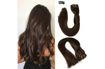 (60cm , #2 Dark brown/120g) - Clip in Hair Extensions 120 Grams120ml 100% Brazilian Remy Human Hair Extensions 9A Thickened Soft Silky Straight for Fashion Women 7pcs 17clips Full Head(60cm Dark Brown #2)