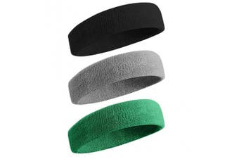 (01-3PC-Black/Gray/DP Green) - BEACE Sweatbands Sports Headband/Wristband for Men & Women - 3PCS / 6PCS Moisture Wicking Athletic Cotton Terry Cloth Sweatband for Tennis, Basketball, Running, Gym, Working Out