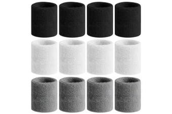(02-12PC-4Black/4White/4Gray) - BEACE Sweatbands Sports Headband/Wristband for Men & Women - 3PCS / 6PCS Moisture Wicking Athletic Cotton Terry Cloth Sweatband for Tennis, Basketball, Running, Gym, Working Out
