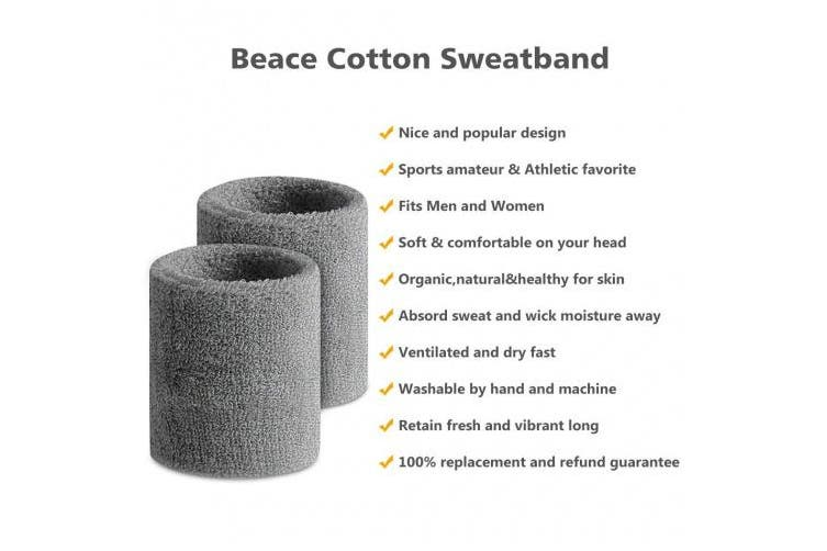 (02-12PC-12Gray) - BEACE Sweatbands Sports Headband/Wristband for Men & Women - 3PCS / 6PCS Moisture Wicking Athletic Cotton Terry Cloth Sweatband for Tennis, Basketball, Running, Gym, Working Out