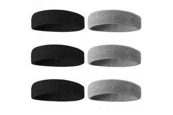 (01-6PC-3Black/3Gray) - BEACE Sweatbands Sports Headband/Wristband for Men & Women - 3PCS / 6PCS Moisture Wicking Athletic Cotton Terry Cloth Sweatband for Tennis, Basketball, Running, Gym, Working Out