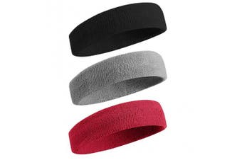 (01-3PC-Black/Gray/Maroon) - BEACE Sweatbands Sports Headband/Wristband for Men & Women - 3PCS / 6PCS Moisture Wicking Athletic Cotton Terry Cloth Sweatband for Tennis, Basketball, Running, Gym, Working Out