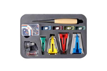 MIUSIE Fabric Bias Tape Makers Kit with Sewing Awl, Bead Needles,Adjustable Binder Clip,Wooden Awl,Foot Press -Practical Bias Tape Maker Set for Sewing/Quilting