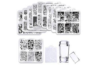 (A) - 10 Pcs Square Nail Stamping Plates Set Halloween Flower Animal Pattern 6 * 6 cm Nail Art Stamp Template Image Stencils Tool Kits (BT13-BT22)