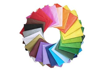 Supla 120 Sheets 24 Colours Tissue Paper Bulk Wrapping Tissue Paper Art Rainbow Tissue Paper 50cm x 70cm for Art Craft Floral Birthday Party Festival Gift Wrapping Decorative Tissue Paper Pom Pom
