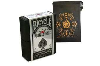 (Red) - Prestige Plastic Bicycle Playing Cards - Duraflex Bicycle Deck - Also Includes Cascade Card Bag (Red)