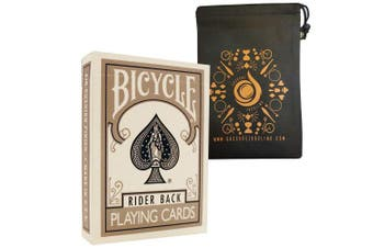 Silver Coloured Bicycle Playing Cards - Classic Rider Back Design- Includes Cascade Card Bag
