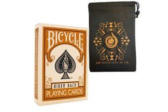 Gold Coloured Bicycle Playing Cards - Classic Rider Back Design- Includes Cascade Card Bag
