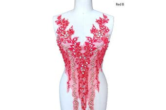 (B, Red) - Lace Applique 3D Beaded Embroidered Floral Rhinestone Trim Patches Great for DIY Neckline Bodice Wedding Bridal Prom Dress A2AB (B, Red)