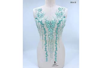 (B, Mint) - Lace Applique 3D Beaded Embroidered Floral Rhinestone Trim Patches Great for DIY Neckline Bodice Wedding Bridal Prom Dress A2AB (B, Mint)