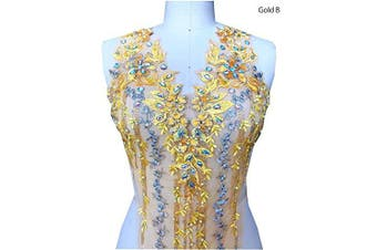 (B, Gold) - Lace Applique 3D Beaded Embroidered Floral Rhinestone Trim Patches Great for DIY Neckline Bodice Wedding Bridal Prom Dress A2AB (B, Gold)