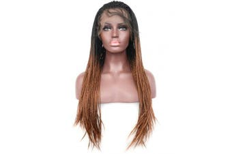 (60cm , Micro Braided,T1B/30) - BLUPLE Micro Braided 2 Tone 1B 30 Synthetic Lace Front Wigs Heat Resistant Hair Black Root Ombre to Medium Auburn Colour Lace Wig with Baby Hair for Black Women (60cm , Micro Braided,T1B/30)