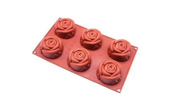 Rose Silicone Mould, 6 Holes Baking Mould Cake Pan Biscuit Chocolate Mould for Cake Decoration, Ice Cube Tray