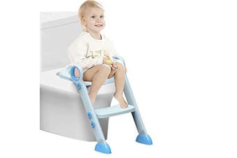 (blue) - Adjustable Baby Potty Training Seat with Steps Toilet Training Ladder Toddler Ladder Toilet Seat Steps for Baby/Children 2-8 Year Old … (Blue)